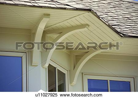 Stock Image of Detail roof overhang and support brackets u11027925.