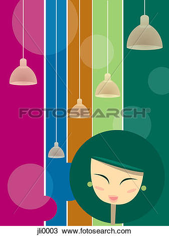 Drawing of A happy woman with over hanging lights jli0003.