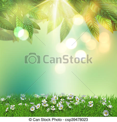 Clip Art of 3D daisies in grass with overhanging leaves.