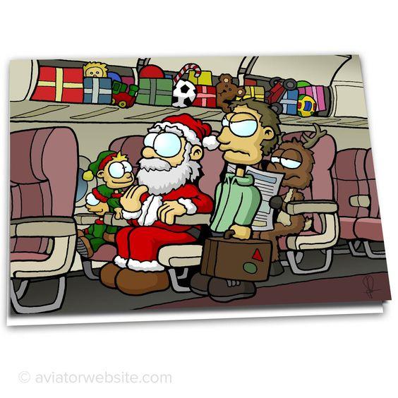 "Funny Christmas Card ""Overhead Bins""."
