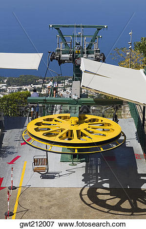 Picture of High angle view of an overhead cable car, Capri.