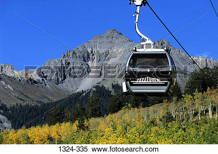 Stock Image of Low angle view of an overhead cable car, Mountain.
