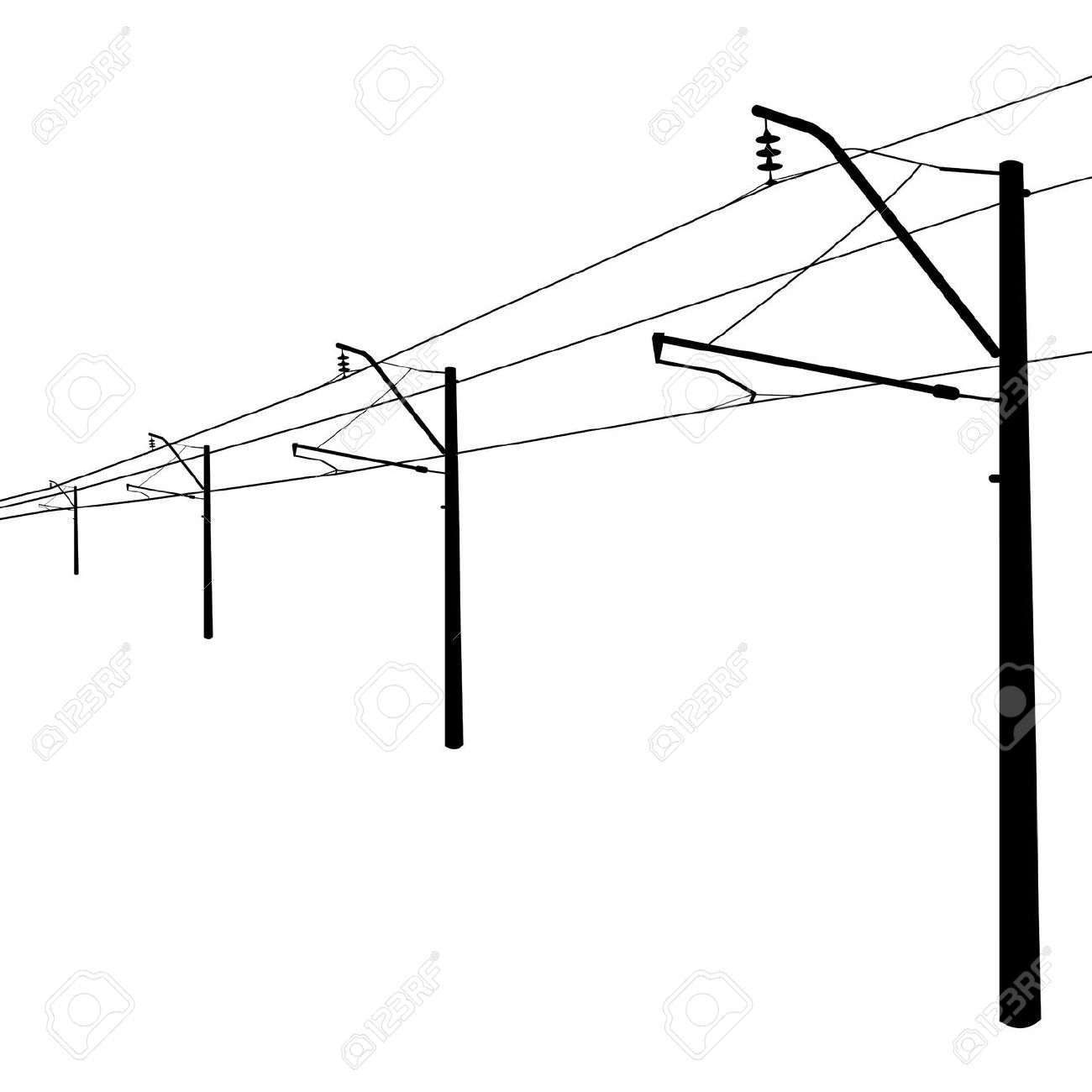 Railroad Overhead Lines Contact Wire Illustration Royalty Free.
