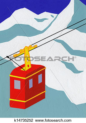 Clip Art of Overhead Cable Car in the Mountains k14735252.
