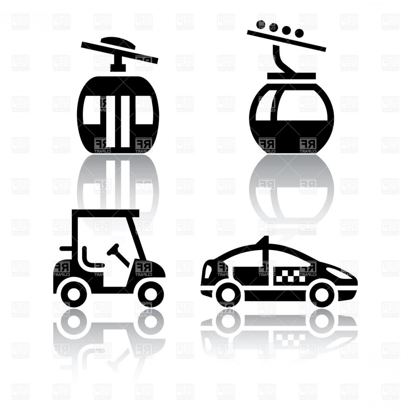 Excellent Overhead Cable Car Taxi And Golf Cart Icons Vector.