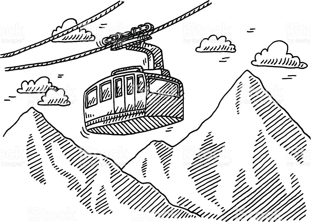 Cable Car Clipart Black And White.