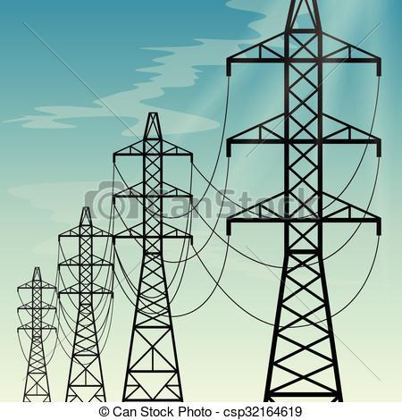 Vector Clip Art of High voltage overhead power lines.