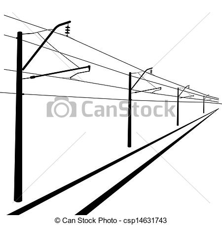 EPS Vector of Railroad overhead lines. Contact wire. Vector.
