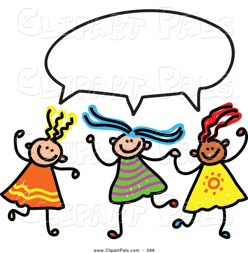 Pal Clipart of a Childs Sketch of Three Girls with a Word Balloon.