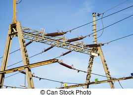 Stock Photos of Trolley overhead line wire switch. Electrical.
