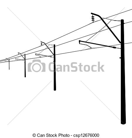 Vector Clipart of Railroad overhead lines. Contact wire. Vector.