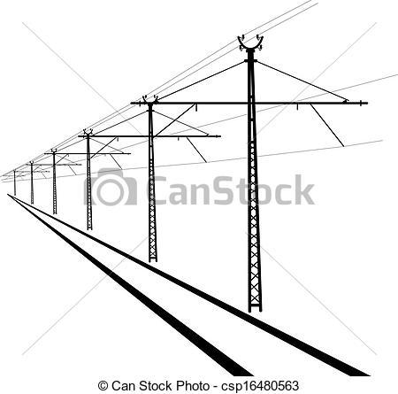Clip Art Vector of Railroad overhead lines. Contact wire. Vector.