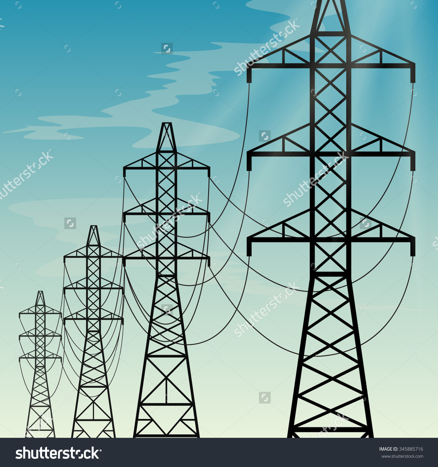 High Voltage Overhead Power Lines Stock Vector 345885716.
