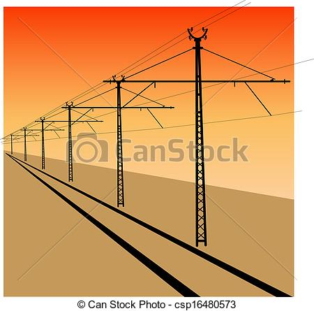 Vectors Illustration of Railroad overhead lines. Contact wire.