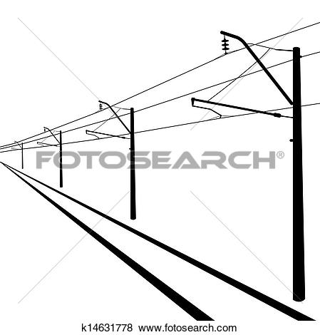 Clip Art of Railroad overhead lines. Contact wire. Vector.