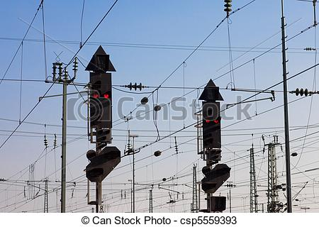 Stock Photos of Railway Signal and Overhead Wiring.