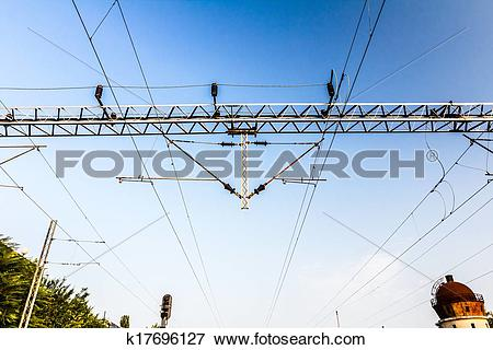 Picture of Electric Railways with overhead power line. k17696127.