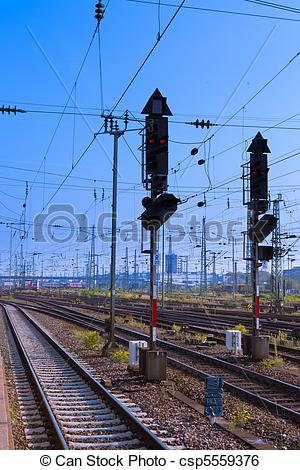 Stock Image of Railway Signal and Overhead Wiring.