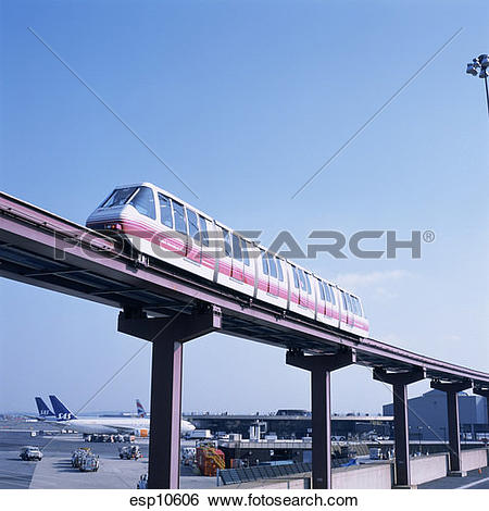 Stock Images of Overhead train at an airport. esp10606.