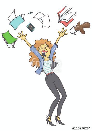 Overjoyed, happy business woman, clerk or secretary throwing.