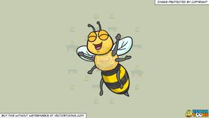 Clipart: An Excited And Overjoyed Bee on a Solid Pale Silver C6Ccb2  Background.