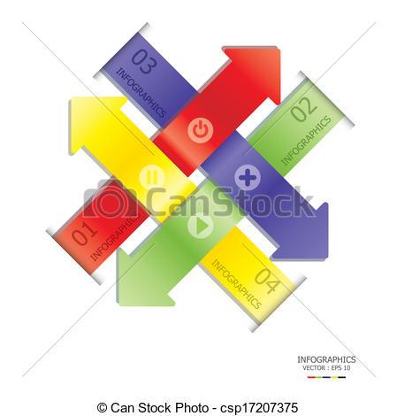 Vectors Illustration of Overlap Arrows Design Template csp17207375.