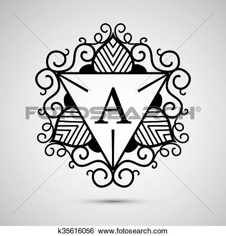 Clip Art of Template design for monogram, label, logo in.