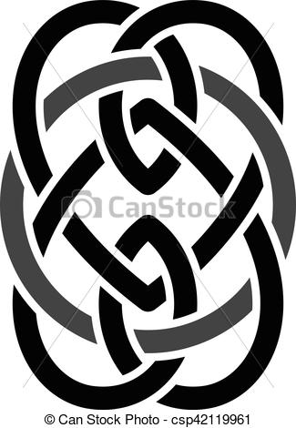 Clip Art Vector of celtic overlapped black abstract floral concept.