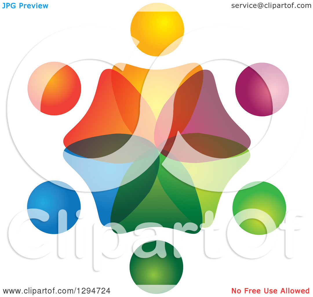 Clipart of a Unity Team Circle of Colorful Abstract People.