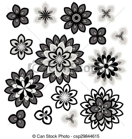 Vector Clip Art of Flower petals overlapping black and white.