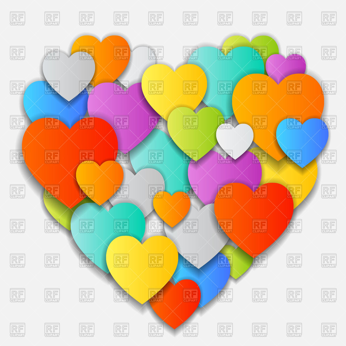 Cute valentine made of motley overlapping hearts Vector Image.