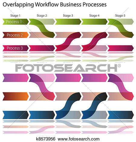 Clip Art of Overlapping Workflow Business Processes k8573956.