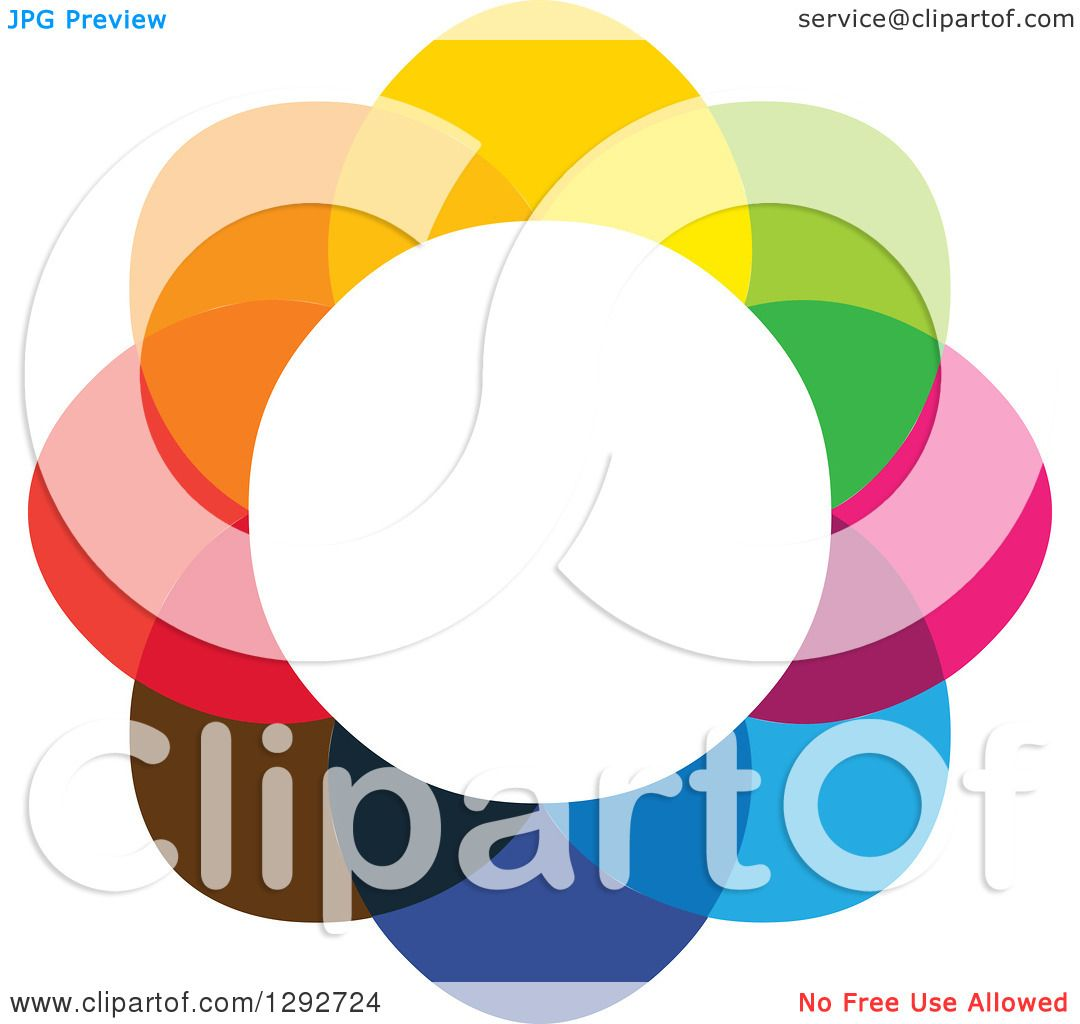 Clipart of a Flower Design of Colorful Overlapping Petals and a.