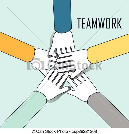 Vector Clipart of teamwork concept: people overlapping their hands.