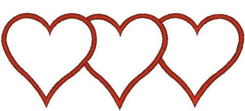 Three Overlapping Hearts Embroidery Design.
