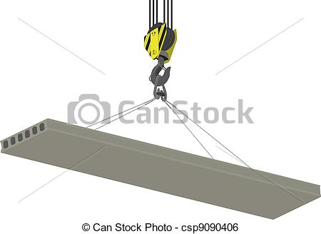 Clip Art Vector of Crane Hook and hollow plate of overlapping.