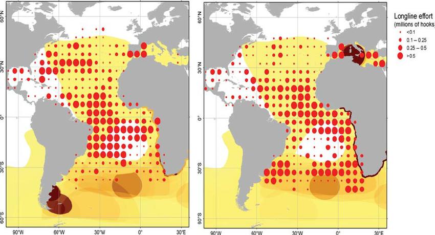 The overlap of ICCAT pelagic longline.