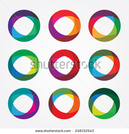 Set Collection Trendy Multicolored Overlapping Transparent Stock.