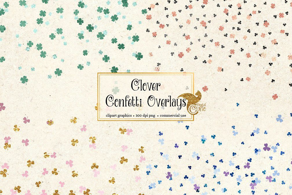 Shamrock Confetti Overlay Clipart #scrapbooking#creative.