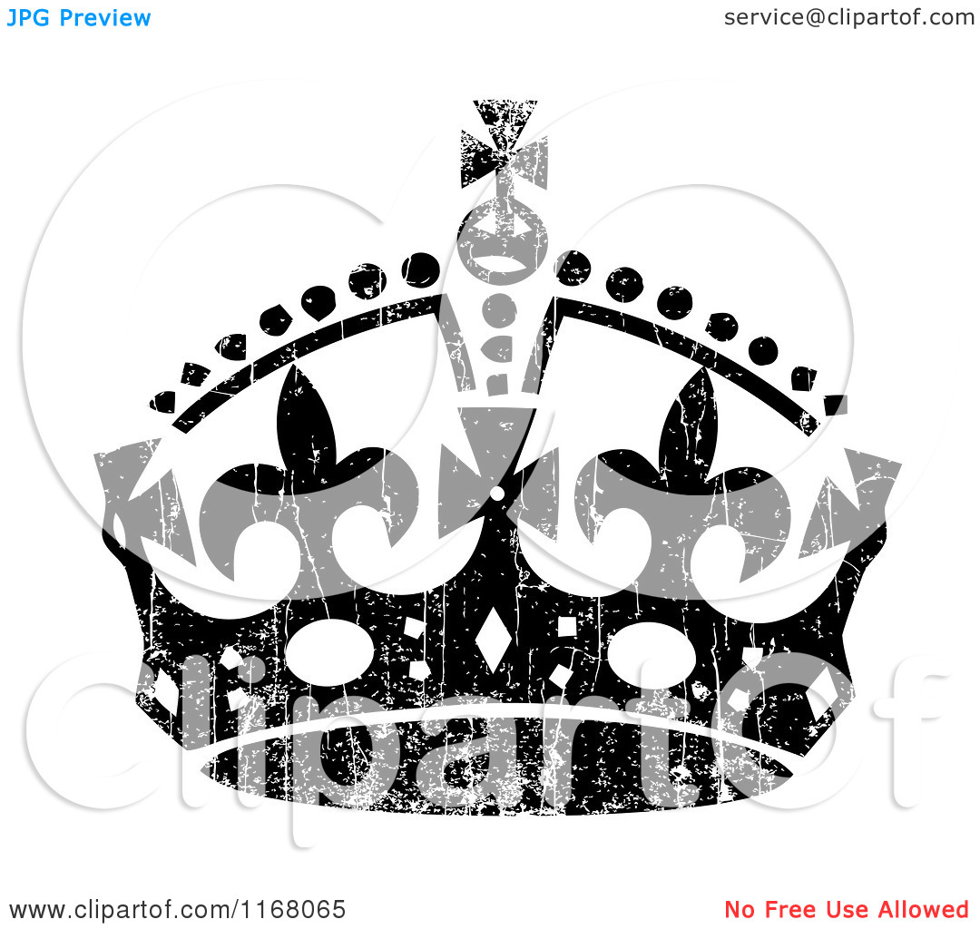 Clipart of a Black Crown with White Distress Overlay.