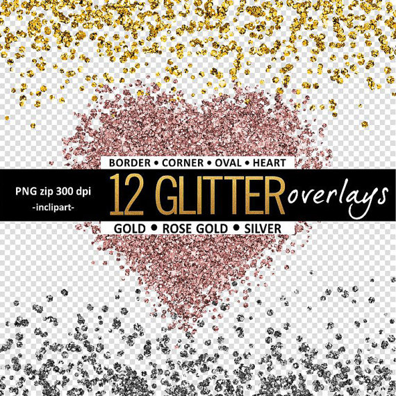 Gold Glitter Overlay Clipart.