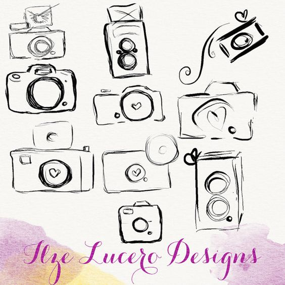 PNG camera doodle clip art overlays digital by IlzesDesigns.