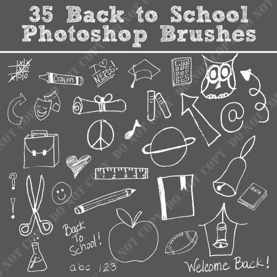 35 Back to School Photoshop Brushes Word Art Set /Chalkboard.