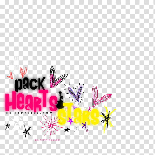 Hearts and stars, Pack hearts text overlay transparent.