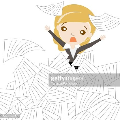 Cartoon business woman sinking in overload of paper works.