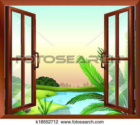 Clipart of A window overlooking the view of nature k18552712.