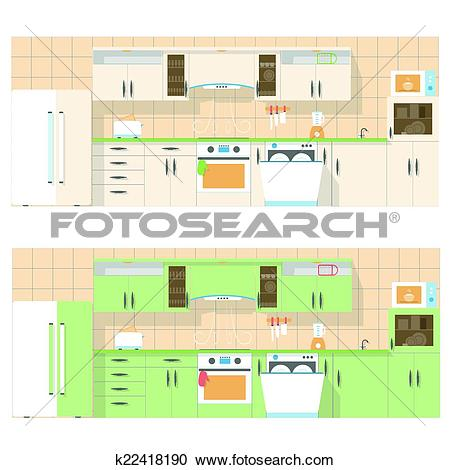 Clipart of Kitchen overlooking the front, in a flat layout design.