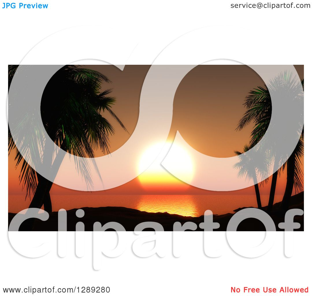 Clipart of 3d Silhouetted Tropical Palm Trees and Hills.