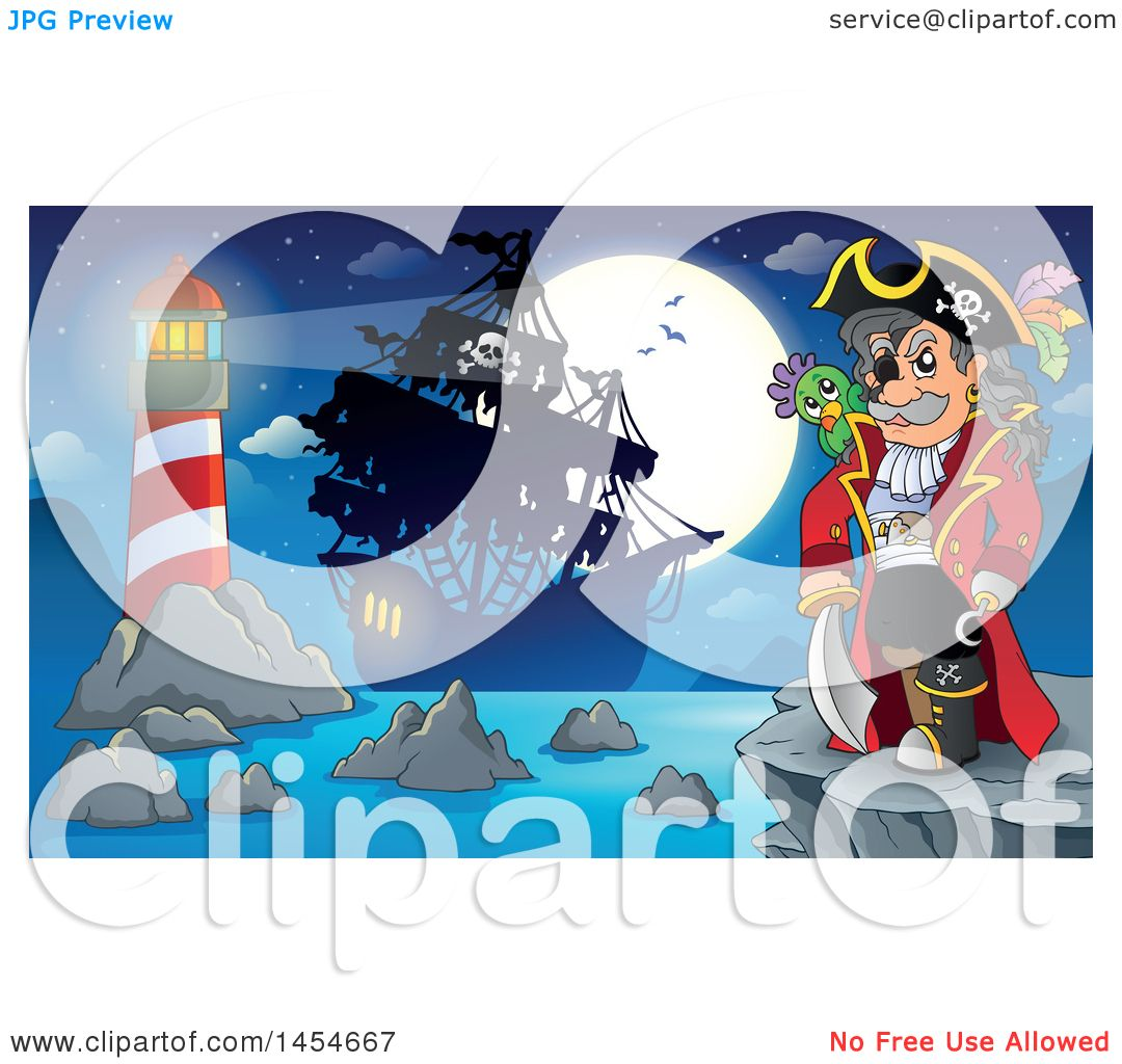 Clipart Graphic of a Cartoon Pirate Captain on a Cliff Overlooking.