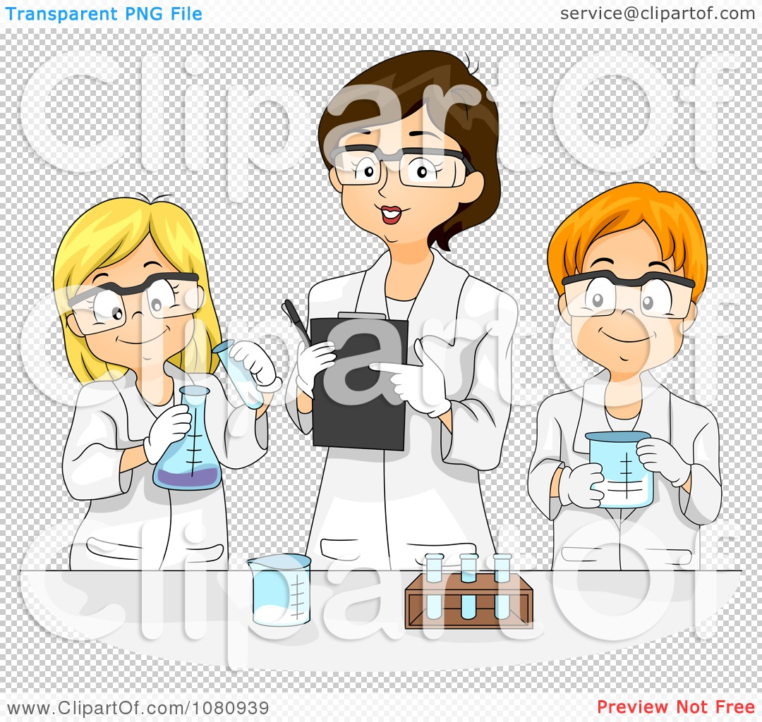 Clipart Female Teacher Overlooking Students And Their Science.